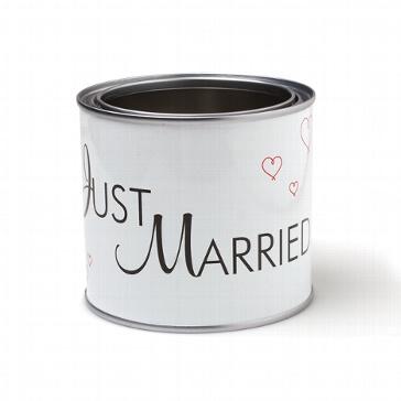 "Originelle Blechdose mit Aufschrift ""Just Married"""