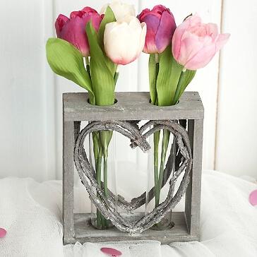 Blumenvase Herz aus Holz