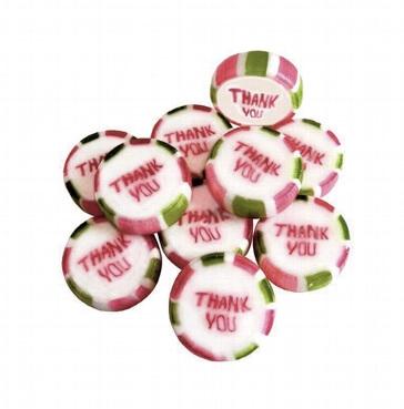 Bonbons Thank you, 250g (ca. 50 St.) - grün weiß gestreifte Bonbons