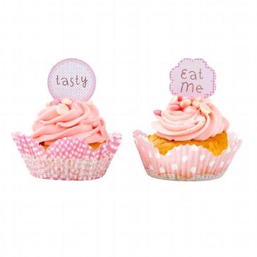 Rosa Cupcake-Deko in zwei Designs - Detailbild