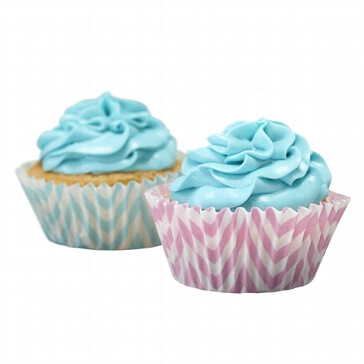 "Cupcake Förmchen ""Chevron"", 50 St., rosa/blau"