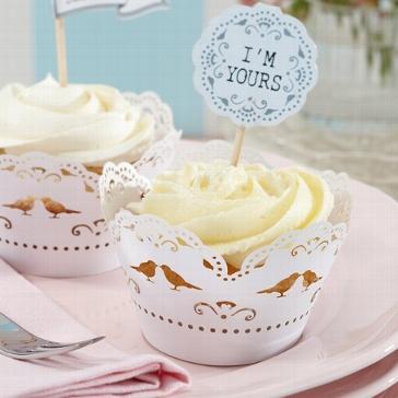 """Cupcake Wraps """"Love Birds"""" als Hochzeitsdekoration"""