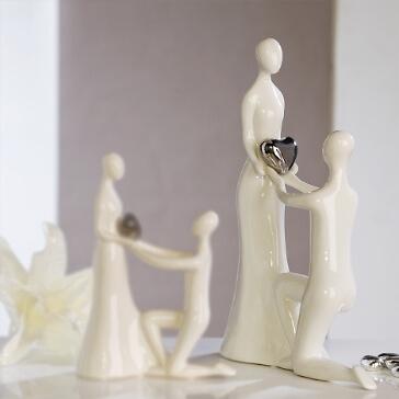 Dekofigur Keramik Heiratsantrag