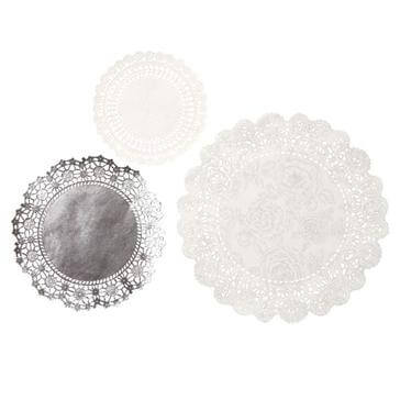 Doilies Tischdeko in Silber