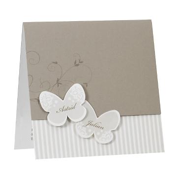"""Hochzeitseinladung """"Bea"""" - taupefarbene Hochzeitseinladung mit Schmetterlingen"""