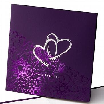 Einladungskarte Mabel - lila Hochzeitseinladung