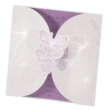 Hochzeitseinladung Mona mit Schmetterlingen