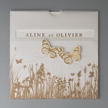 Einladungskarte Golden Schmetterlinge