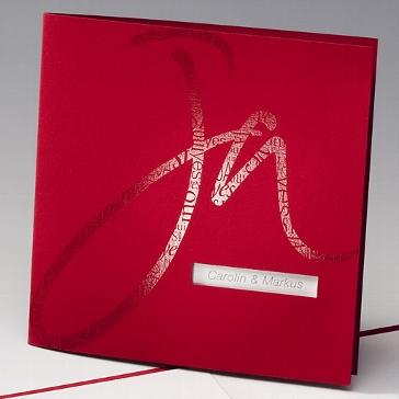 """Einladungskarte """"Sanja"""" - rote Hochzeitskarte"""