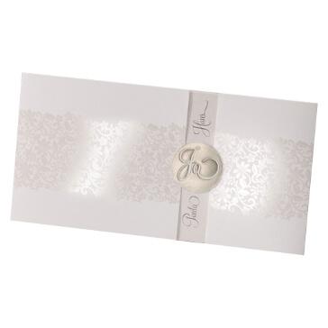 """Einladungskarte zur Hochzeit """"Tabea"""" in Creme"""