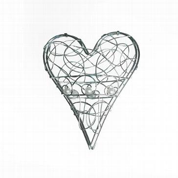 Eisen-Herz chrom mit Perle - Hochzeitsdeko