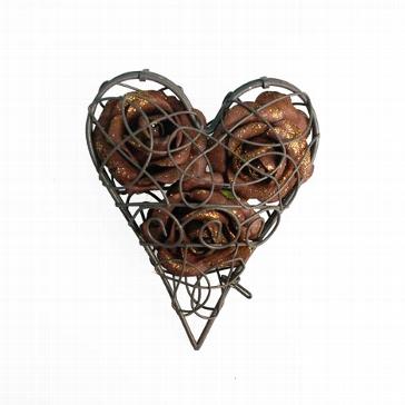 Eisen-Herz zum Öffnen rost-braun - Hochzeitsdeko