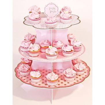 Etagere Punkte 3-fach, wendbar, rosa-weiß - mit Cup Cakes Hochzeitsbuffet
