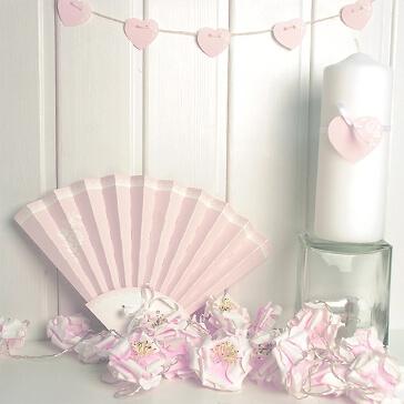 Gastgeschenke zur Hochzeit Papierdeko Fächer in Rosé