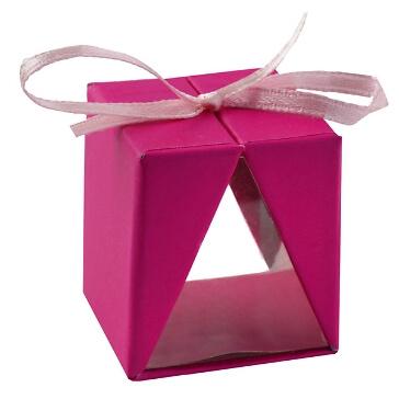 Faltschachtel Cadeau, fuchsia, 4 St. - farbenfrohes Gastgeschenk zur Hochzeit