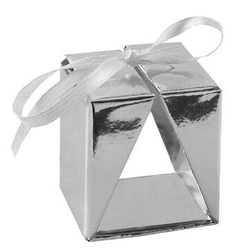 Faltschachtel Cadeau, silber, 4 St. - Elegante Faltschachtel als Gastgeschenk