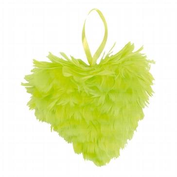 Federherz in Grün zur Hochzeitsdeko