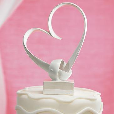 """Tortenfigur """"My Love Heart"""" - weißes Herz aus Keramik als Tortenfigur"""