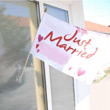 """Flagge """"Hochzeit"""" mit Holzstab"""