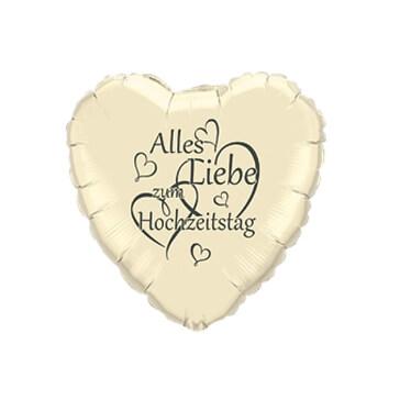 Folienballon Herz Hochzeitstag, creme-grau