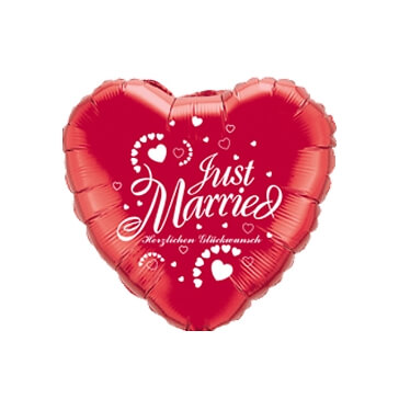 "Folienballon Herz ""Just Married"", rot-weiss"