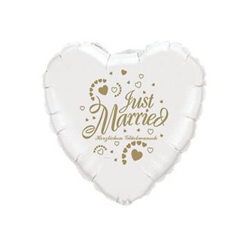 Folienballon Herz Just Married, weiss-gold