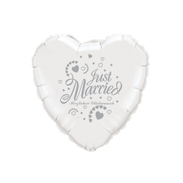 Folienballon Herz Just Married, weiss-silber