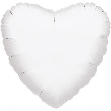 Folienballon Herz, mittel, weiß