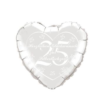 Folienballon Herz Silberhochzeit, silber