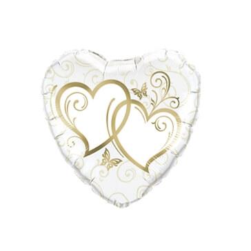 Folienballon Herz verschlungene Herzen, gold