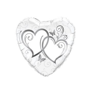 Folienballon Herz verschlungene Herzen, silber