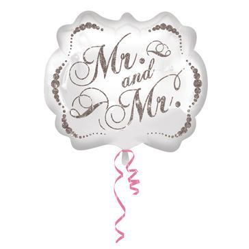 "Folienballon ""Mr&Mr"" oval in Weiß"