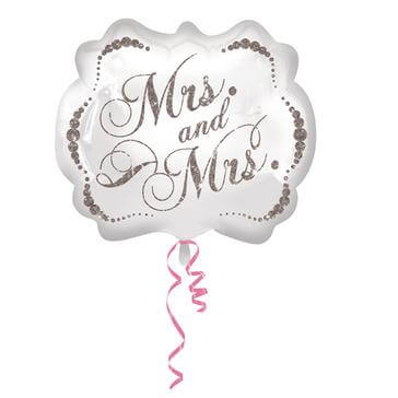 """Folienballon """"Mrs & Mrs"""" oval in Weiß"""