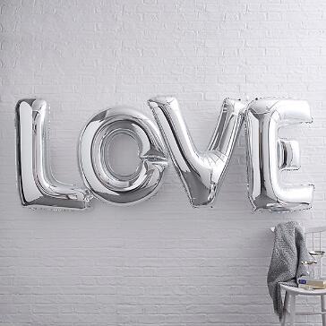 Folienballon Schriftzug LOVE, silber