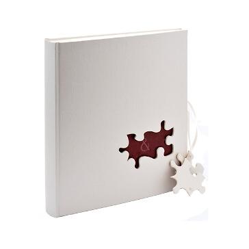 Fotoalbum Kopenhagen - großes weißes Hochzeitsalbum mit Puzzleteilen