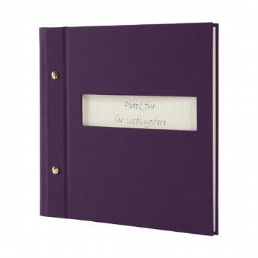 Gästebuch mit Sichtfenster pflaumenfarben