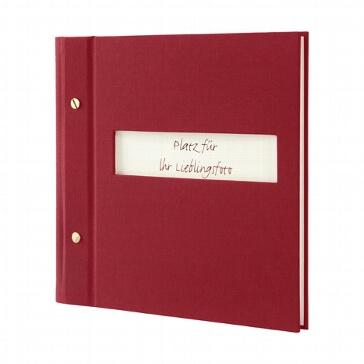 Gästebuch mit Sichtfenster in Weinrot