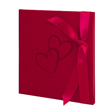 Gästebuch Herzen in Rot