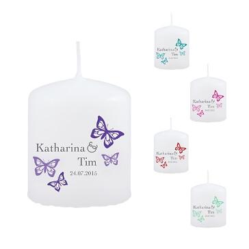 Gastgeschenk-Kerze zur Hochzeit in Weiß mit Schmetterlingen