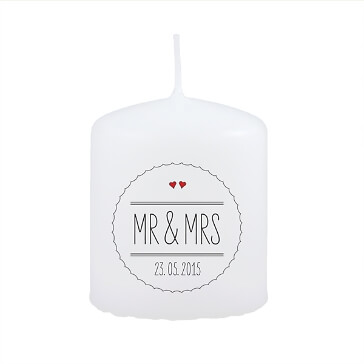 Gastgeschenk Kerze zur Hochzeit Mr & Mrs