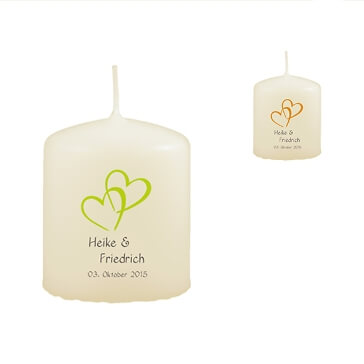 Gastgeschenk-Kerzen zur Hochzeit mit Herzmotiv