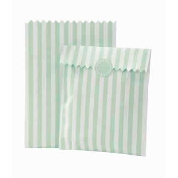 Gastgeschenk-Tüten Streifen, 10 St., mint-weiß - hübsche Geschenk-Tüten in Mint