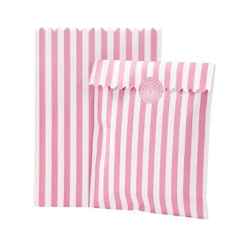 """Gastgeschenk-Tüten """"Streifen"""", 10 St., rosa-weiß"""