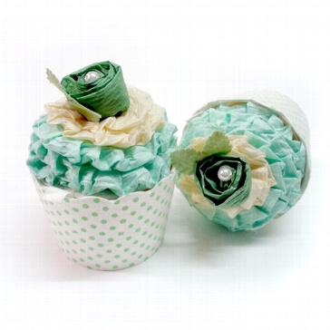 Gastgeschenk-Box Cupcake grün - zur Hochzeit