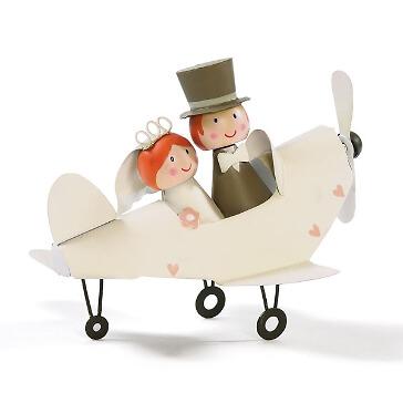 """Dekofigur """"Brautpaar im Flugzeug"""" als Geschenk zur Hochzeit"""