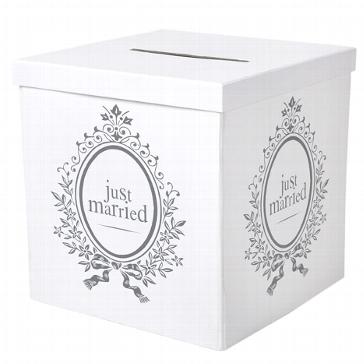 Box für Geschenke und Briefe für das Brautpaar mit Schriftzug
