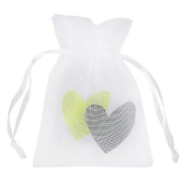 "Geschenksäckchen ""Love Love"", grün, 6 St. - Geschenksäckchen mit grünen Herzen"
