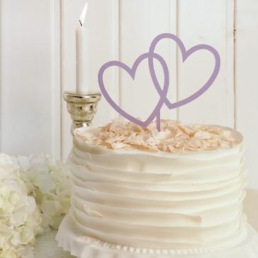 Cake Topper Herzen in Lila
