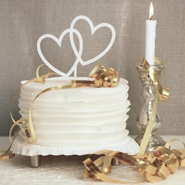 Cake Topper Herzen in Weiß