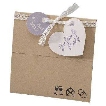 Einladungskarte zur Hochzeit Lucie im Kraftpapierlook